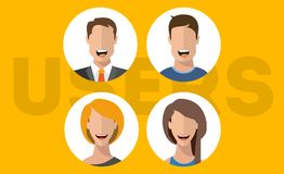 User flat vector characters man and woman stock images