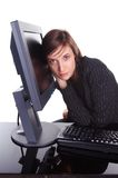 User friendly. Girl close to monitor and keyboard Royalty Free Stock Photography