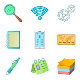 User friendly icons set, cartoon style. User friendly icons set. Cartoon set of 9 user friendly vector icons for web isolated on white background Stock Photo