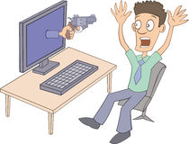User is frightened by virtual gun Stock Photography