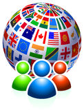 User Group with Flags Globe Stock Photo