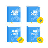 User Guide book download icon set. Flat  illustration Stock Photography