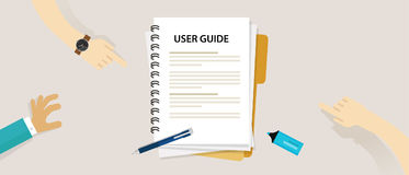 User guide document on table book manual. Vector stock illustration