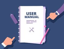User guide document. User manual, reference with people hands. Handbook, instruction and guidebook vector concept. Hand book guide, guidebook tutorial, help stock illustration