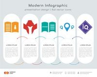 User guide infographics design. Infographics design  and user guide, spartan helmet, spanish language, store locator, IQ icons can be used for workflow layout Stock Images