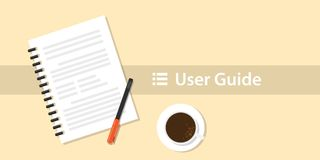 A user guide manual book on top of table desk stock illustration