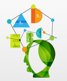User head with geometric infographic A B C D and Stock Images