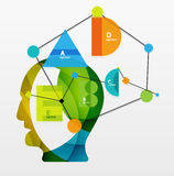 User head with geometric infographic A B C D and Royalty Free Stock Images