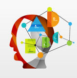 User head with geometric infographic A B C D and Royalty Free Stock Photography