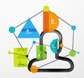 User head with geometric infographic A B C D and Stock Image
