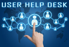 User Help Desk. Concept with hand pressing social icons on blue world map background Stock Images