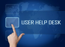 User Help Desk. Concept with interface and world map on blue background Stock Photo