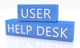 User Help Desk. 3d render blue box with text User Help Desk on it on white background with reflection Royalty Free Stock Photos