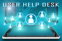 User Help Desk. Text illustration with social icons and tablet computer and mobile cellphones on cyan digital world map background Royalty Free Stock Photography