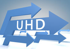 User Help Desk. UHD - User Help Desk 3d render concept with blue arrows on a bluegrey background Stock Photography