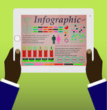 User hold mobile device. Tablet pc. With applications. Infographics vector Royalty Free Stock Image