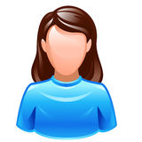 User icon. Vector user icon of female wearing blue t-shirt Stock Images