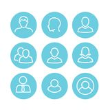 User Icon Set with Man, Woman, & Multiple People Royalty Free Stock Photos