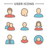 User Icon Set with Man, Woman, & Multiple People Royalty Free Stock Image