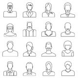 User icons, people icons. Set of 16 people icons in white background Royalty Free Stock Photo