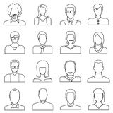 User icons, people icons. Set of 16 people icons in white background Royalty Free Stock Photography