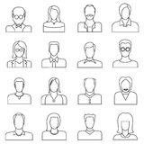 User icons, people icons. Set of 16 people icons in white background Stock Photo