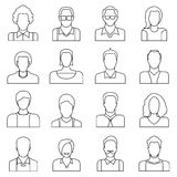 User icons, people icons. Set of 16 people icons in white background Stock Photos