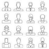 User icons, people icons. Set of 16 people icons in white background Stock Photography