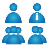 User icons set. Blue user icons set on a white background. Vector illustration Stock Photos