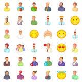 User icons set, cartoon style. User icons set. Cartoon style of 36 user vector icons for web isolated on white background Stock Images