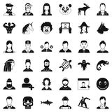 User icons set, simple style. User icons set. Simple style of 36 user vector icons for web isolated on white background Royalty Free Stock Images
