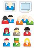 User icons vector illustrations. Computer user of unique identities mix and match meeting and web conference vector illustration vector illustration