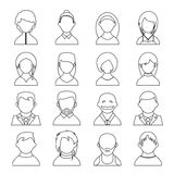 User icons. Vector outline user icons, people black silhouettes on white background Stock Photography