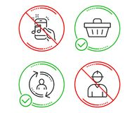 User info, Music phone and Shopping basket icons set. Engineer sign. Update profile, Radio sound, Sale offer. Vector stock illustration