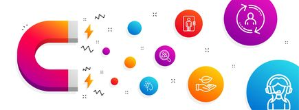 User info, Search employees and Brainstorming icons set. Leaf, Elevator and Support signs. Vector. Magnet attracting. User info, Search employees and stock illustration