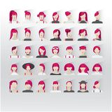 35 user intarfase icons with young ladies crimson color hair. Avatar female red hair, human faces social network icons vector illustration 35 icons with other Stock Images