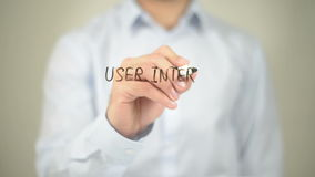 User Interface Design, Man Writing on Transparent Screen stock footage