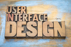 User interface design word abstract in wood type Stock Images