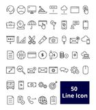50 user interface line icon. 50 thin line icons. Icons for web and user interface Vector Illustration