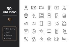 30 User Interface Line Icons. High quality ser interface line icons. Icons for user interfaces and web Royalty Free Stock Image