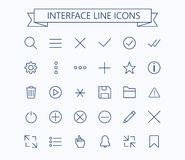 User interface line mini icons .Editable stroke. 24 px. Eps 10 Stock Photos