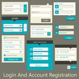 User interface login and account registration Stock Image