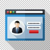 User login form template in flat style on transparent background Stock Photo