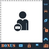 User mail icon flat. User mail. Perfect icon with bonus simple icons stock illustration