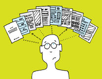 User managing documents. And thinking Royalty Free Stock Photo