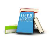 User manual books. Books - isolated on white background - 3d render Royalty Free Stock Photos