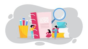 User manual concept. Guide book or instruction. Guidance and tutorial for for users. Handbook and people around. Vector illustration in cartoon style vector illustration