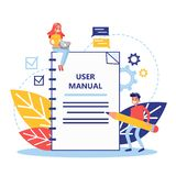 User manual concept. Guide book or instruction. Guidance and tutorial for for users. Handbook and people around. Vector illustration in cartoon style royalty free illustration