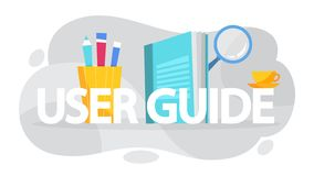 User manual concept. Guide book or instruction. Guidance and tutorial for for users. Handbook. Vector illustration in cartoon style vector illustration