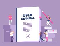 User manual concept. People with guide instruction or textbooks. User reading guidebook and writting guidance. Vector. Illustration. Manual book instruction royalty free illustration